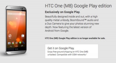 Google Stop Penjualan HTC One (M8) Google Play Edition